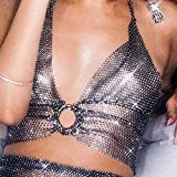 Sethain Mode Body Chain Strass Sparkly Schwarz Gewebt Masche Nach oben Night Club kurz Weste Körper Zubehör Schmuck für Frauen und Mädchen